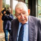 Ron Brierley leaving a Sydney court in 2019. Photo: Getty Images