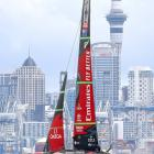 Emirates Team New Zealand on its way to victory in race 9 of the America's Cup yesterday. PHOTO:...
