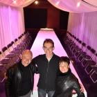 Simon O'Connor (left), Stuart Young and Sofia Kalogeropoulo experience the lighting in the...