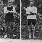 World sculling championship competitors R. Arnst (left) and J. P. Hannan. — Otago Witness, 14.6...