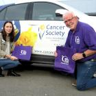 Sharon Robinson, of the Cancer Society, and Relay for Life organising committee chairman Lester...