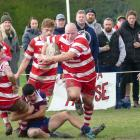Clutha tight head prop Phil Keighley breaks through the West Taieri defence to make some yards...