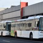 Buses line up at the hub in Dunedin. PHOTO: ODT FILES