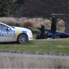The tail of the Robinson 44 helicopter was sheared off in a crash which injured all four on board...