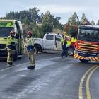 Emergency services at the scene of a crash at Three Mile Hill today. Photo:  Stephen Jaquiery