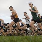 Runners leave the start line in the Edmond Cup at the Wingatui Racecourse on Saturday. PHOTO:...