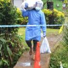 Grocery and essential items are delivered by Fijian army officers to red zone homes in lockdown....