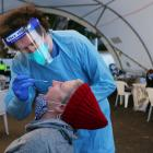 A Covid-19 test is carried out in Sydney today. Photo: Getty Images