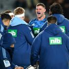 Dalton Papalii of the Blues celebrates after scoring a try against the Force in Auckland. Photo:...