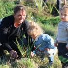 Spending the day together helping plant native species at the Waitaki Community Gardens are...
