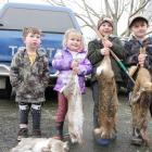 Family friends (from left) Alby Halkett (3), Ella Currie (3), Beau Halkett (5), and Archer Currie...
