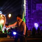 Jordan McArthur, of Christchurch, performs at last night's Fire and Steam in Oamaru, launching...