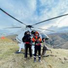 A Heliventures NZ contractor and Trap and Trigger thermal imagery operator with the wallaby...