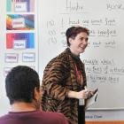 Emer Lyons, at Otago Corrections Facility. Prisoners on a creative writing course. Photo:...