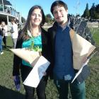 Celebrating their new status as New Zealand citizens in Queenstown yesterday are Lucia Echaniz ...