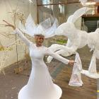 Dunedin Midwinter Carnival co-ordinator of performers Rochelle Brophy tries out one of the...