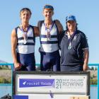 Rowing coach Kirsty Dunhill celebrates with Otago Boys' High School rowers Reuben Cook (left) and...