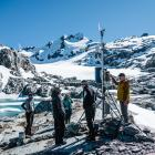 Scientists from the University of Otago at the Mt Brewster weather station, which is being used...