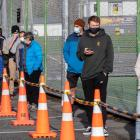 People waiting in line to be tested for Covid-19 at Hataitai Park in Wellington. Photo: NZ Herald