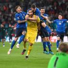 Italy's Gianluigi Donnarumma celebrates winning Euro 2020 with teammates Pool via Reuters