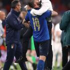 Coach Roberto Mancini and player Leonardo Bonucci celebrate Italy's Euro 2020 success. Photo:...