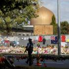 Flowers were laid outside the Al Noor mosque after the shootings. Photo: NZ Herald