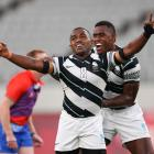 Waisea Nacuqu celebrates after winning the Rugby Sevens Men's Gold Medal match against New...