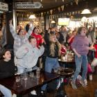 Emotions run high at The Bog, in Dunedin, yesterday morning during the Euro 2020 final. Photos:...