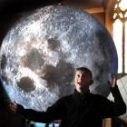 Amazed by a giant moon replica is Fin Auchinvole (11), of Dunedin, at Hanover Hall yesterday....