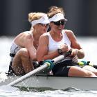 Kiwi rowers Grace Prendergast (left) and Kerri Gowler celebrate winning gold in the women's pair...