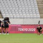 The Black Ferns Sevens celebrate during their epic struggle against Fiji in the Olympic semifinal...