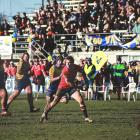 Hayden Parker assesses his options during the Citizens Shield final in Oamaru on Saturday. PHOTO...