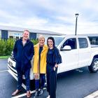 Mike and Anna Molloy with Seven Sharp's Hilary Barry in front of Mike's new Volkswagen Amarok V6....