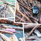Broken jandals and pieces of footwear caught in debris in Lake Roxburgh. PHOTOS: SHANNON THOMSON