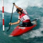 Jane Nicholas of Team Cook Islands competes during the Women's Canoe Slalom Heats. Photo: Getty...