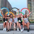 Dunedin swimmer Erika Fairweather (second from left) with New Zealand team-mates (from left) Eve...