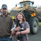 Ngapara Crop Services owner George Tepper, and daughter Lilan (16), with Pip the dog, came out to...