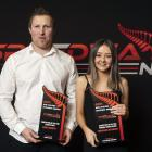 Otago drivers Benji Smaill and Madi Stewart with the prizes they won at the New Zealand Speedway...