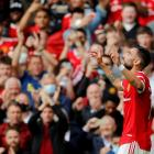Manchester United's Bruno Fernandes celebrates scoring their first goal. Photo: Reuters