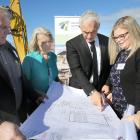 Taieri MP Ingrid Leary and Economic and Regional Development Minister Stuart Nash, flanked by...