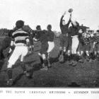 Lineout in the rugby match Christian Brothers v Dunedin Technical College.  — Otago Witness, 6.9...