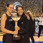 Silver Ferns captain Ameliaranne Ekenasio and coach Noeline Taurua hold the Constellation Cup...