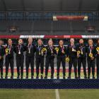 The Black Ferns Sevens with their gold medals in Tokyo. Photo: Getty Images