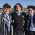 Shirley Boys' High students Carlos Lancaster-Bartlett (left), 17, Quinn Andis, 18, and Daire...