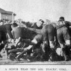 A scrum near the All Blacks' goal during the second test against the Springboks on August 27,...