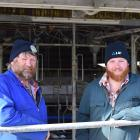 Dairy farmers Tony Brock (left) and his son, Cameron, are 50:50 sharemilking in Kaitangata. PHOTO...
