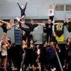 Members of the Otago University Students' Association Cheerleading, Stunt and Tumble Club...