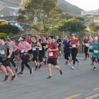 Runners in full flight in Ravensbourne Rd during the Dunedin Marathon 10km event in 2019. The...