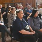 Aged-care workers call for mandatory safe staffing at a Dunedin meeting held yesterday. PHOTOS:...