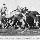 A scrum during the rugby match between Otago University and Canterbury College on August 24, 1921...